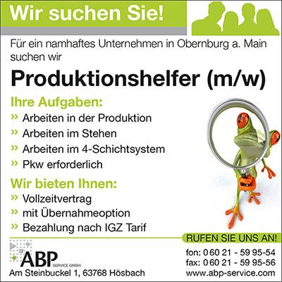 Fuer ein namhaftes Unternehmen in Obernburg am Main suchen wir Produktionshelfer (m/w)